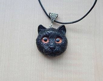 Black cat head pendant, cat  charm necklace, cat jewelry, cat totem, good luck cat, gift for her, animal jewelry, cat halloween gifts, cats