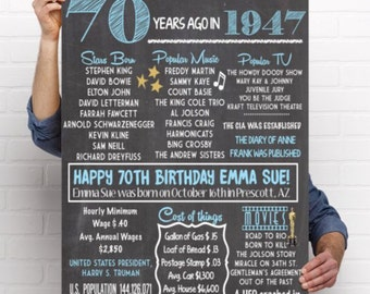 1947- 70th Decor Personalized Birthday Chalkboard Sign ***Digital File*** - DIY PRINTING (1947-01)