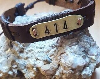 Custom mens bracelet, coordinates bracelet, personalized leather bracelet, engraved mens bracelet, Dads bracelet, fathers day bracelet dad