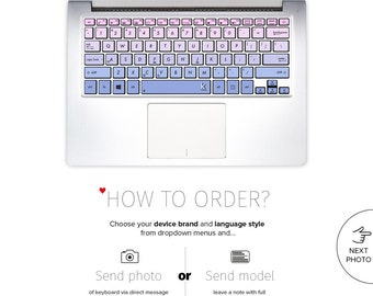 Asus Keyboard Stickers Laptop Skin Decal Acer Chromebook Dell Keyboard Stickers Lenovo HP Surface Book Toshiba Purple # Bluish Pink Ombre