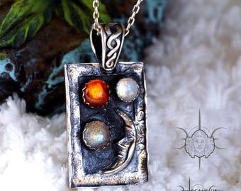 Moon silver pendant - Moon Goddess silver necklace - Pagan silver Jewelry - Unique jewelry - Amber Moonstone Labradorite silver necklace