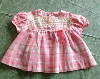 Vintage Pink Baby Dress, Pink & White Plaid Short Sleeve Smock Top with Lace Bodice, Size 6 Months