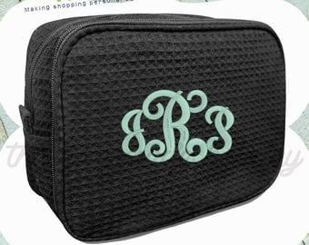Bridesmaid Make Up Bags, Waffle make up bags, monogram make up bag, personalized bridesmaid gifts, wedding day makeup bag