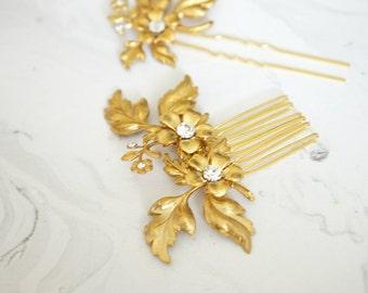 Gold Bridal Hair Accessories, Swarovski Rhinestones Bridal, Wedding Hair, Bridal Hair Jewelry, Gold Wedding, Wedding Hair, Bridal Hair