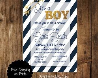 Baby Shower Invitation Navy, Baby Shower Invitation Boy, Printable Baby Shower Invitation, Navy Baby Boy Shower Invitation, Navy and Gold