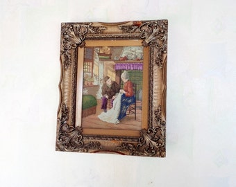 Vintage Wiehler's Tapestry Fiance and fiancee - Handmade Gobelin - Wiehler's Gobelin - Vintage Gobelin - Collectible - Embroidered Tapestry
