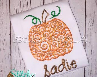 SHIPS FAST!!  Scroll Pumpkin Design Shirt, Bodysuit, Bubble or Romper