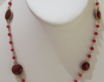 Ruby 24K Gold Plated Wire Wrapped Necklace