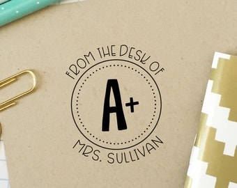 Custom Stamp, Teacher Stamp, From the Desk of, Classroom Stamp, A+ Stamp, Office Stamp, Teacher Gift, Bookplate, Stationery Stamp