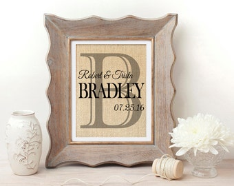 Personalized Wedding Gift | Burlap Print | Burlap Last Name Print | Monogram Print | Wedding Date | Wedding, Engagement, Anniversary Gift