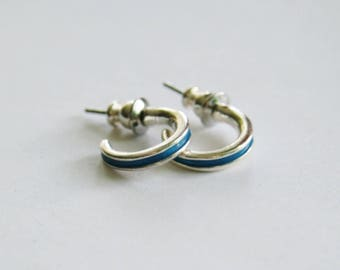 Silver & Turquoise Semi-Hoop Earrings // Silver Plated Studs // 90's Vintage Hoop Earrings / Pierced Ears / Minimalist // Made in the UK