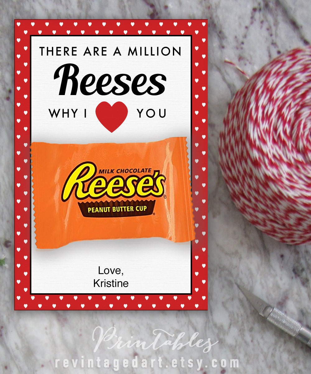 Printable Valentine Cards for Reese's Peanut Butter Cups