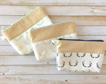 Navy Blue Mint Grey Antlers Zipper Pouch, Pencil Pouch Purse, Pencil Case, Cosmetic Bag, Accessories, Teens, Women, Organize, Gift