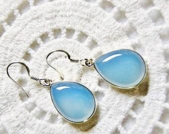 Chalcedony earrings sterling jewelry blue chalcedony silver earrings gift for her gemstone earrings elegant jewelry blue dangle earrings