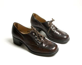 RESERVED! Vintage 80's Leather Brown Chunky Platform Lace Up Loafers, Oxford Boots - EUR 39/ US 8.5