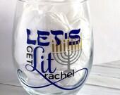 Hanukkah Wine Glass, Let's Get Lit Glassware, Funny, Menorah, Chanukah, Hebrew, Jewish Lights, Shalom, Shiksa, Girls Night Out, FREE Name
