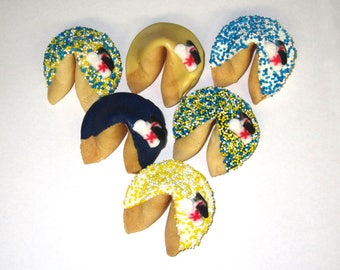 24 GRADUATION Blue, Yellow & White Fortune Cookies, Achievement, Cap and Scroll, Congratulations Gift