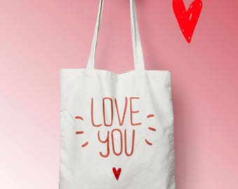 X446Y Love bag Tote, bag canvas, cotton bag, diaper bag, tote bag, shopping bag, shopping bag, bag clamp