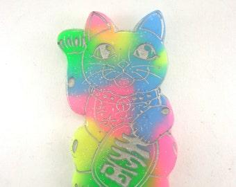 SALE!! Neon rainbow maneki neko pin brooch