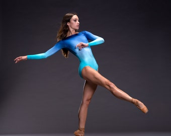 New!! Portia - Ombre Custom Long Sleeved Leotard with Boat Neck and Flattering Scoop Back