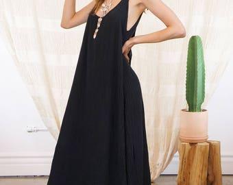 SU MAXI DRESS | Black Kimono Robe Boho Summer Dress Maxi Boho Beach Dress Wear One Size Long Dress Gauze Cotton Dress Resort Black Sun Dress