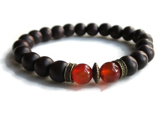 Chocolate brown Dark wood bead bracelet, bronze bracelet with wooden beads and carnelian, stacking bracelets, unisex bracelet