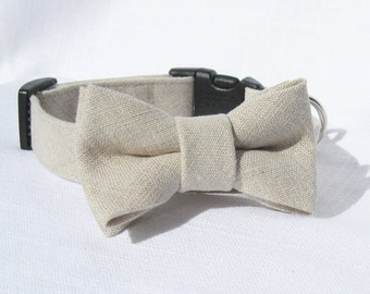 Bow Tie Dog Collar~Tan Linen Bow Tie Collar~Wedding Dog Collar~Removable Bow Tie~Black Side Release Buckle~Optional Matching Leash