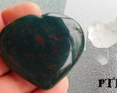 Revitalize & Detoxify ~ Authentic Carved Puffed Heart Natural Bloodstone Gemstone 50mm (India)