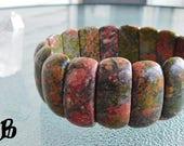 "Emotional Balance ~ Authentic Natural Unakite Gemstone Bracelet 7 1/4"" stretch"