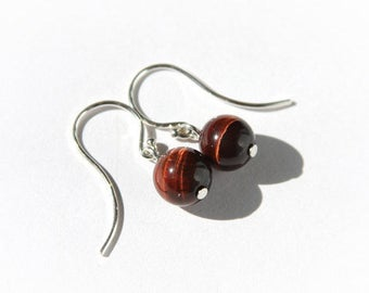 Red Tiger Eye Earrings Sterling Silver Reddish Brown Small Earrings Natural Stone Tigereye Earrings Minimal Earrings Simple Earrings #17514