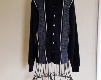 Vintage Sears Cardigan/Sweater Black, Gray, and White Sears Sportswear