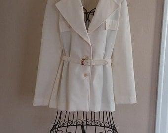 Vintage Creamy White Belted Jacket