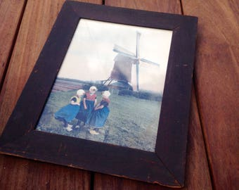 Hand Colored Photograph 1920s Dutch Windmill/Girls