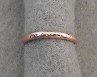 14K rose gold filled hand forged wedding band, 2.6mm band, 2.1mm simple hammer textured organic pink gold stacking ring, Alabama goldsmith