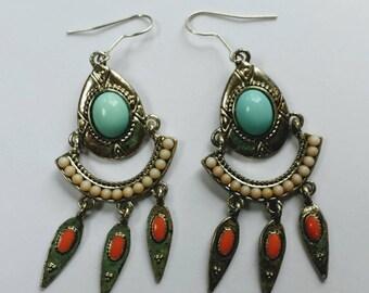 Silver Aztec Dangle Earrings; Hippie Earrings; Gypsy Style Fringe Earrings; Native American Inspired Earrings; Gifts for Her; Fun Earrings