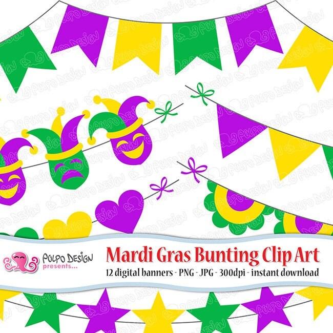 Mardi Gras bunting clipart. Digital clip art. Commercial &