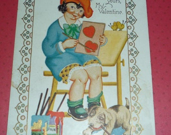 Little Artist With her Puppy Dog Paints Hearts Vintage Valentine Postcard