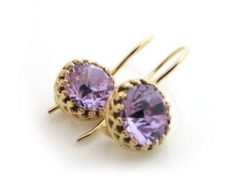 Purple Earrings, Swarovski Earrings, Violet Earrings, Gold Earring, Bridesmaid Gift Set, Bridal Earrings, Bridesmaid Thank You, Gift For Her