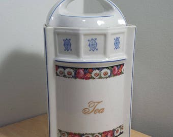 Vintage porcelain Tea Canister, made in Germany, Floral Pattern, White and Blue antique Kitchen Storage