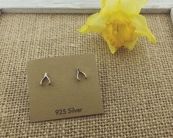 925 Sterling Silver Wishbone Studs Earrings, Good Luck Earrings