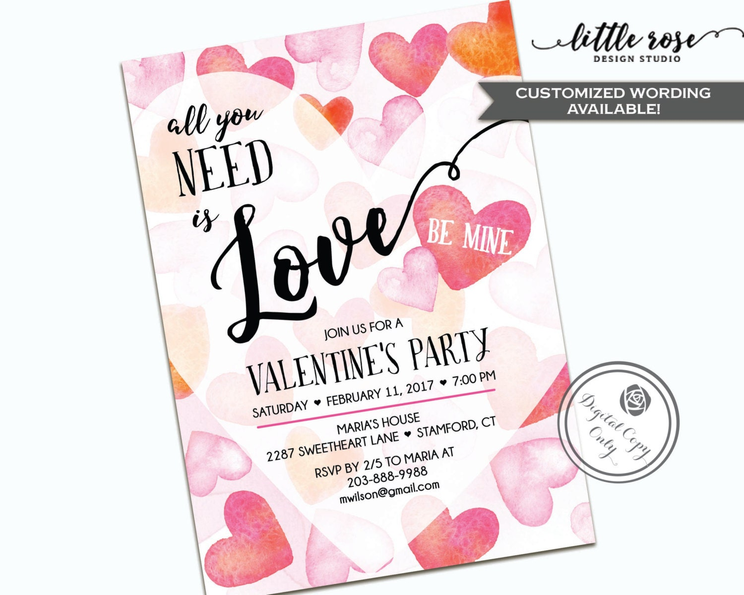 Valentine's Tea Party Invitation Mother's Day by LittleRoseStudio