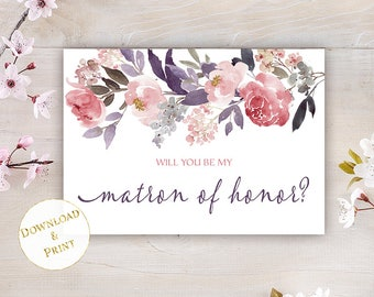 Matron of Honor Proposal Card, Printable Will You Be My Matron of Honor Card, Best Friend Proposal Card, 5x7 Fits A7 Envelope, PDF Card