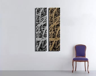Gold And Silver Large Vertical Thin Panel Metal Abstract Wall Art
