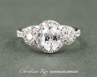 Oval Cut Diamond Simulant Engagement Ring - Sterling Silver CZ Cubic Zirconia (#CRRB0221SS)