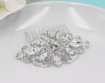 CZ Wedding Comb, Rhinestone Comb, Bridal Comb Crystal, Wedding Crystal Hair Comb, Hair Comb, Wedding Accessory, Bridal Headpiece, 204826312