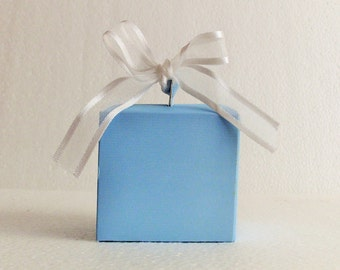 5 pack Favour gift box & ribbons, Blue card box.EMPTY DIY flat pack easy fold. White Organza ready cut ribbon, Baby shower christening party