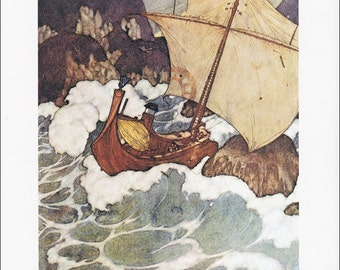 Arabian Nights vintage art nouveau print illustration folk tale fairy tale Arabian Nights sailing ship ocean Edmund Dulac 8.5x11.5 inches