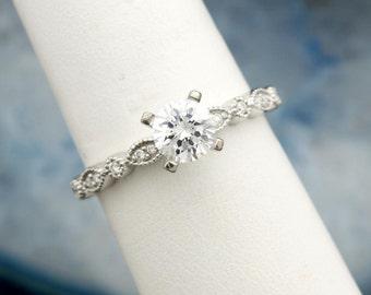 Art Deco Vintage 14 karat white gold diamond semi mount engagement ring perfect for your loose diamond, gemstone or moissanite Made in USA