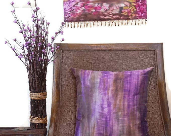 Purple  Pillow 18x18-Watercolor Silk Pillow-Boho Decor-Bohemian Pillow-Lavender Pillow-Spring Decor-Home Decor Gift-Watercolor Home Decor