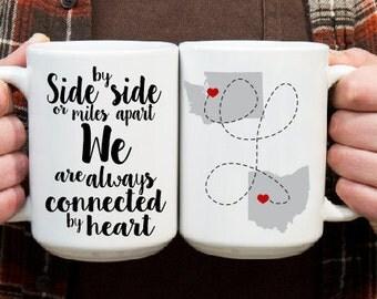 Long Distance Boyfriend Mug - Gift for Boyfriend - Anniversary Gift for Girlfriend - Long Distance Love - State to State Mug - Coffee Mug